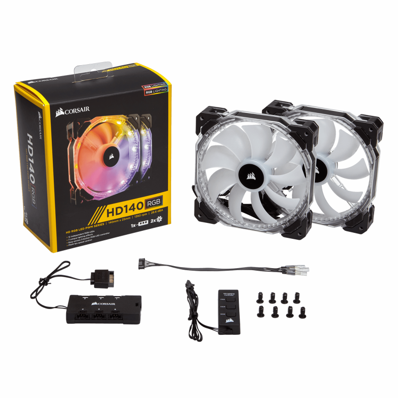 CORSAIR HD140 RGB 140mm PWM Fan – Dual Pack With Controller