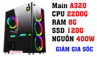 BỘ PC AMD OFFICE I 2200G - Ram 8G - SSD 120G