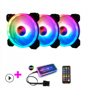 Kit Fan CooLmoon V2 Led Rainbow RGB ( 3 fan + điều khiển )