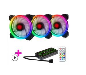 Kit Fan CooLmoon V1 Led Rainbow RGB ( 3 fan + điều khiển )