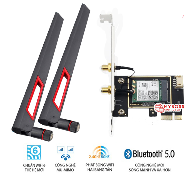 Card WiFi Intel PCI AX200 Wi-Fi 6, Bluetooth 5.0